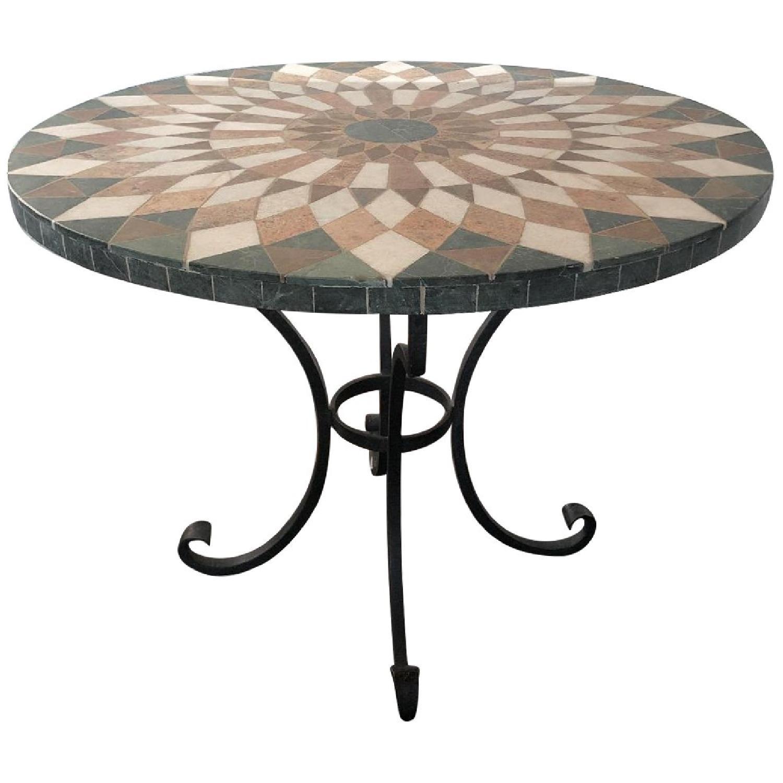 Arhaus Iron Dining Table w/ Stone Top - image-0