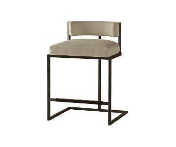 Baker Custom Blackened Steel & Leather Dining Chair