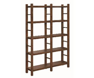 Double Bookcase in Country Brown Finish