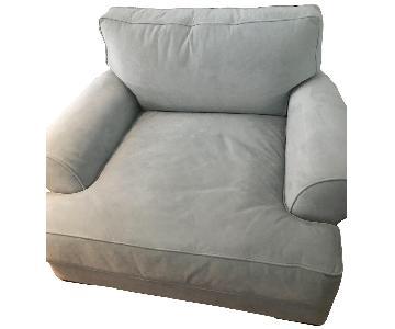 Bloomingdale's Oversized Powder Blue Velvet Chair