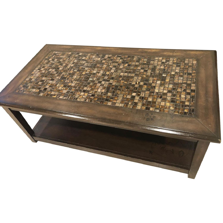 Raymour & Flanigan Wood & Stone Top Coffee Table