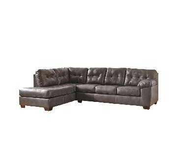 Jennifer Convertibles Jaclyn 2 Piece Leather Sectional Sofa
