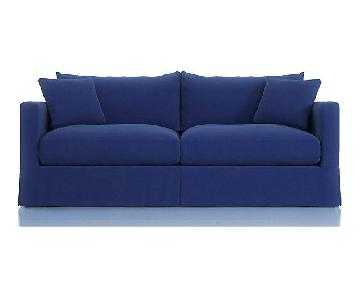 Crate & Barrel Willow Blue Suede Sleeper Sofa