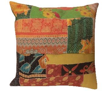 Anthropologie Kantha Patchwork Pillow
