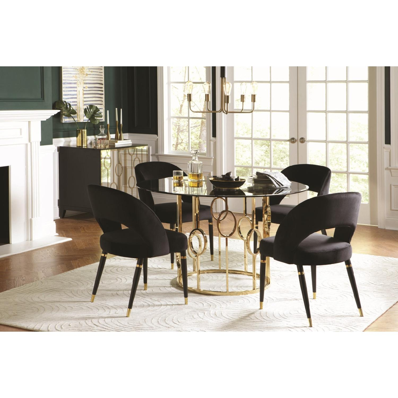 ... Modern Dining Table W/ Smoke Glass Top U0026 Gold Ring Base 0 ...