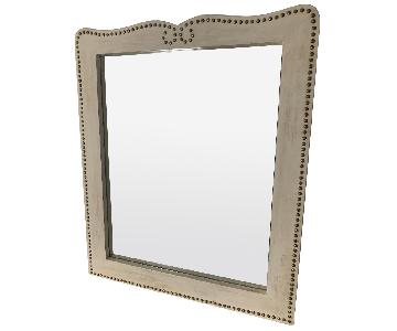 Nailhead Trim Distressed Mirror in Cream Color