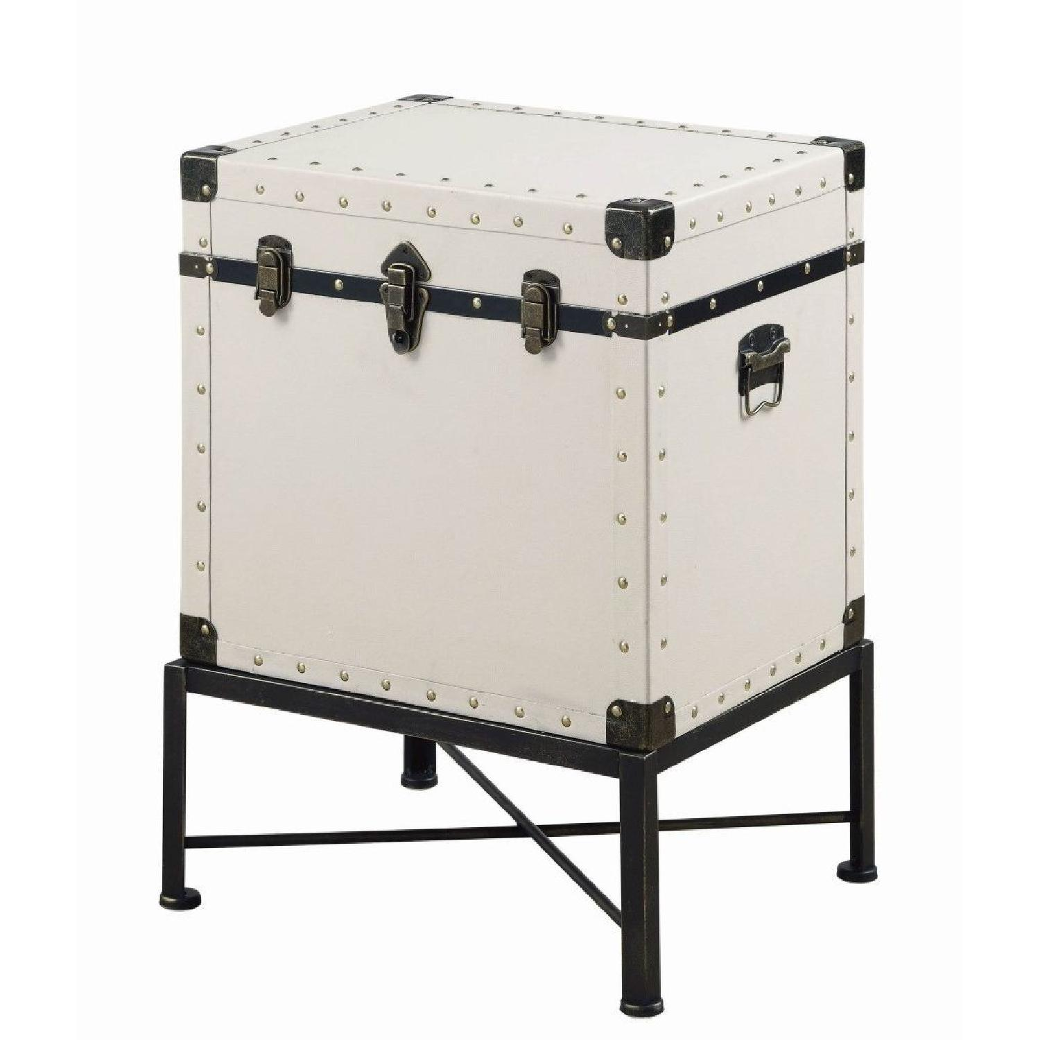 Lift Top Accent Cabinet in White w/ Nailhead Accent - image-1