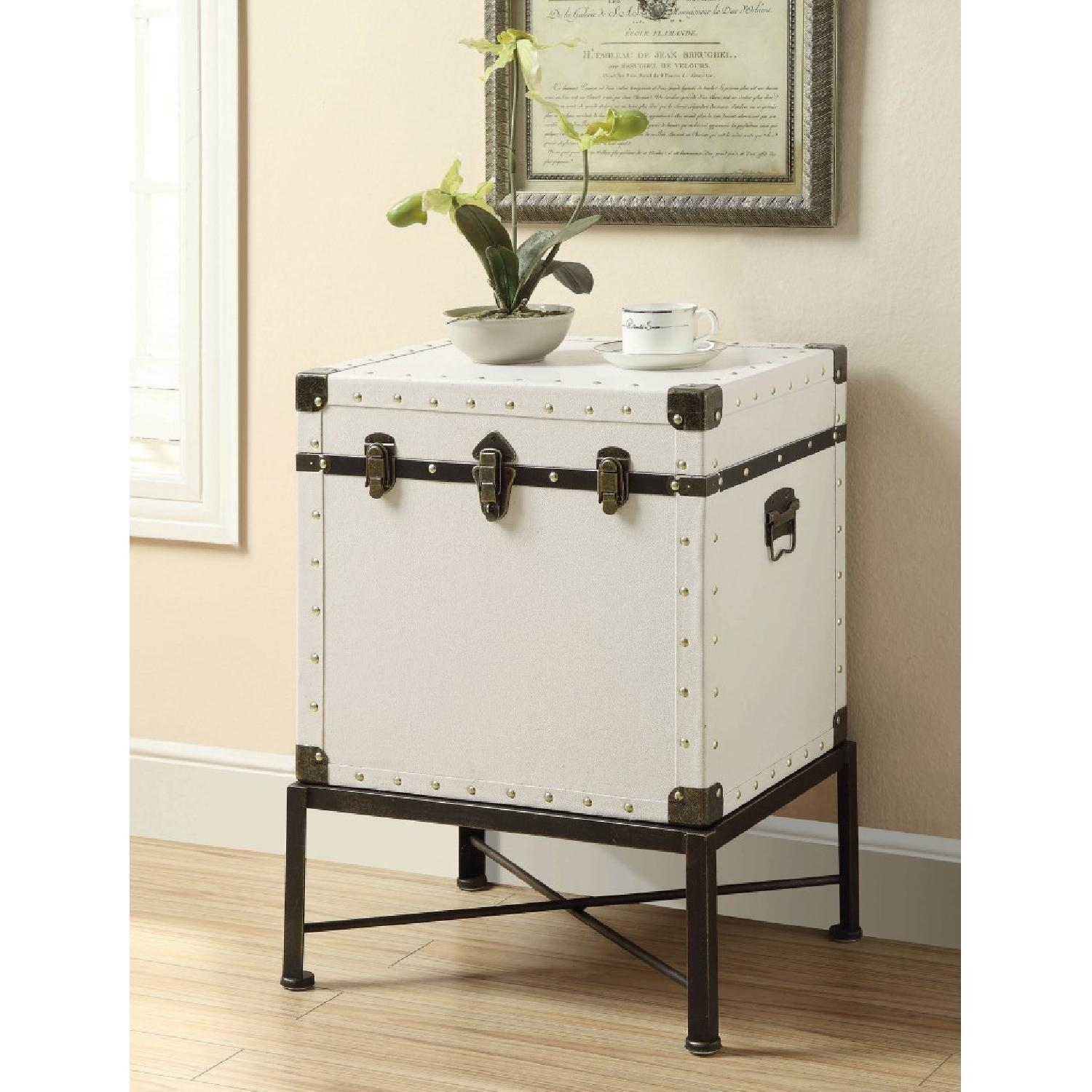 Lift Top Accent Cabinet in White w/ Nailhead Accent - image-2