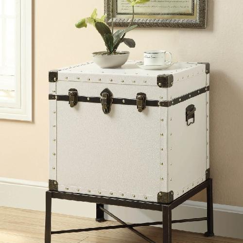 Used Lift Top Accent Cabinet in White w/ Nailhead Accent for sale on AptDeco