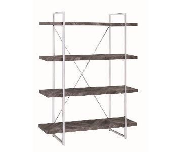 Bookcase w/ Rustic Grey Herringbone Shelves & Chrome Base