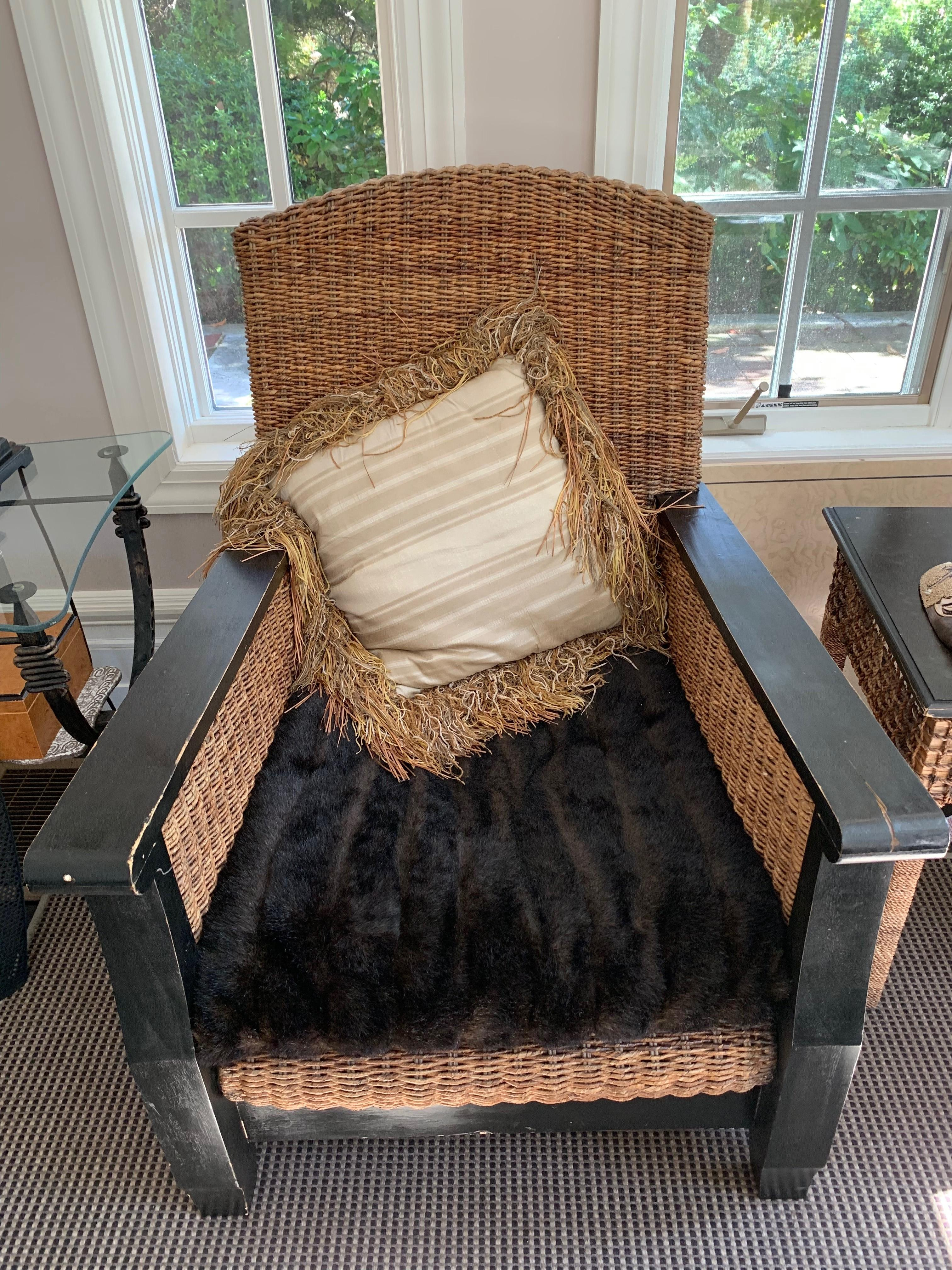 Solid Wood & Wicker Accent Chairs