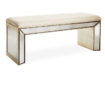 Horchow Noelle Mirrored Linen Bench