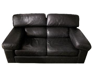 Leather Center Texas Black Leather Loveseat