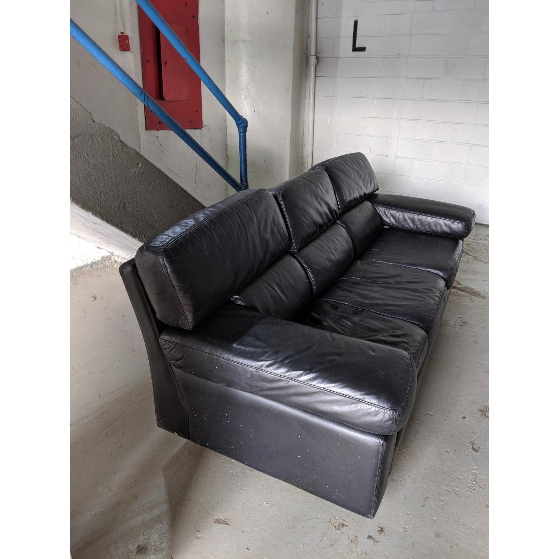 Leather Center Texas Black Leather 3 Cushion Sofa
