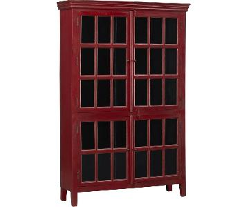 Crate & Barrel Wood Red China Cabinet