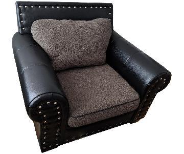 Leather Oversized Chair w/ Grey Fabric Cushion