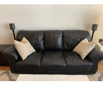 Natale Furniture Black Leather Sleeper Sofa