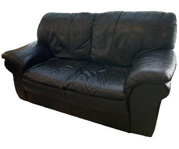 Natale Furniture Black Leather Loveseat