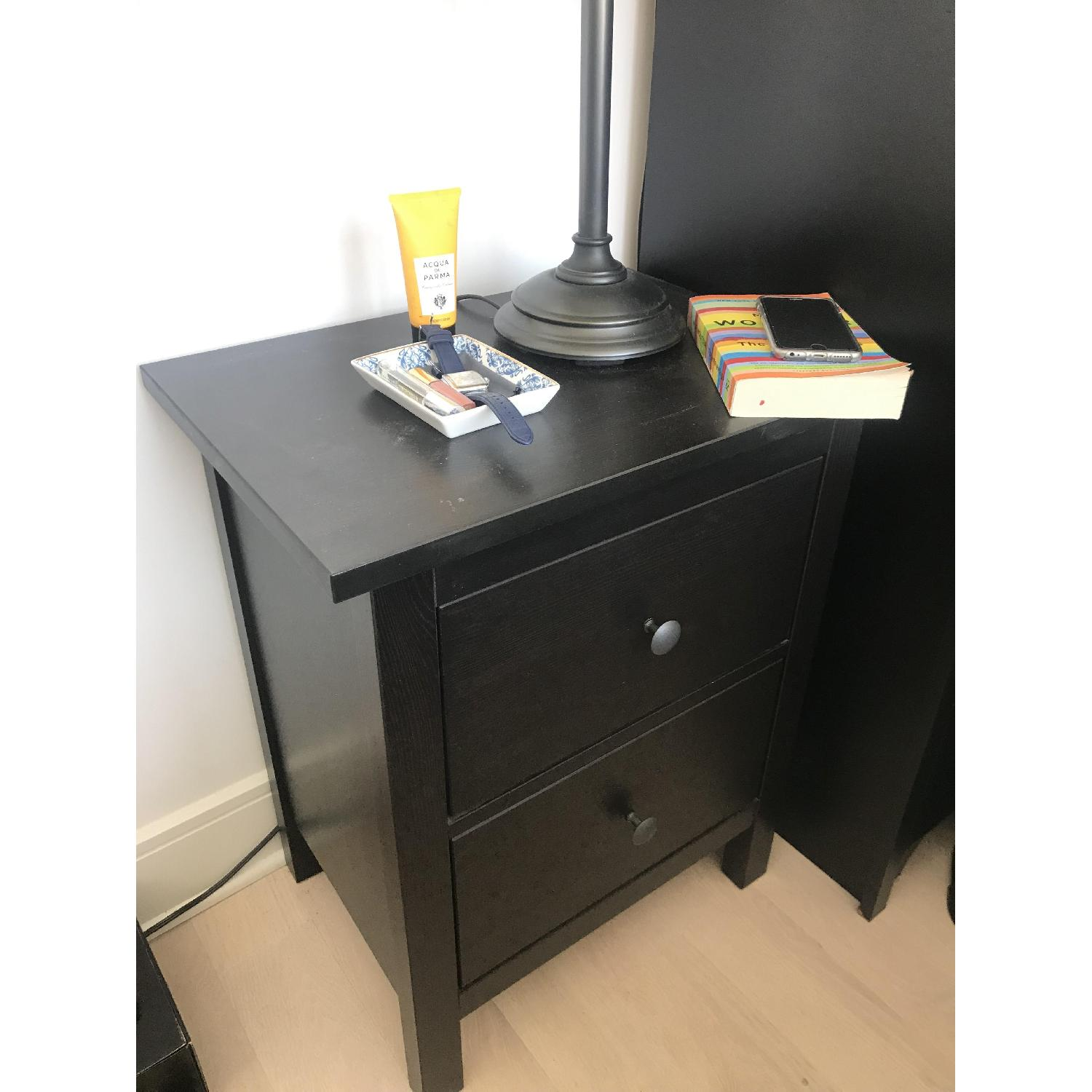 Ikea Hemnes 2 Drawer Nightstand In Black Brown