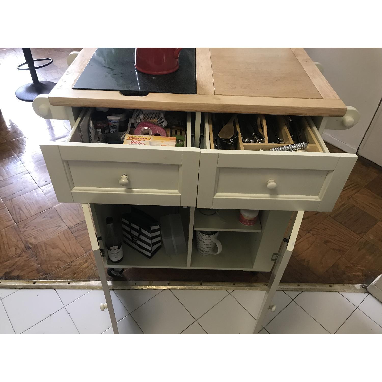 Crate & Barrel Granite Top Drop-Leaf Kitchen Island