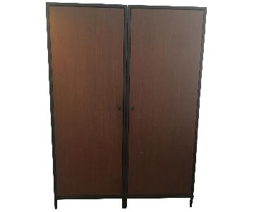 Desiron Wardrobe in Exotic Wood w/ Metal Bases