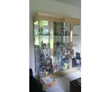 Lighted Glass Display Case w/ 4 Shelves