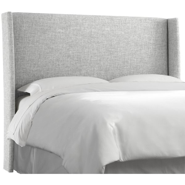 Trule Teen Grey Upholstered Wingback Headboard w/ Bed Frame