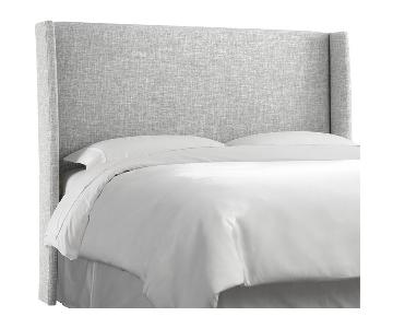 Trule Teen Grey Upholstered Wingback Headboard w/ Bed Frame