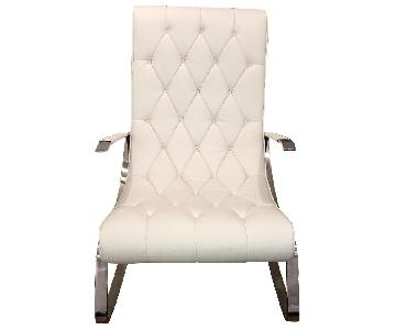 Tufted White Leather Rocking Chair