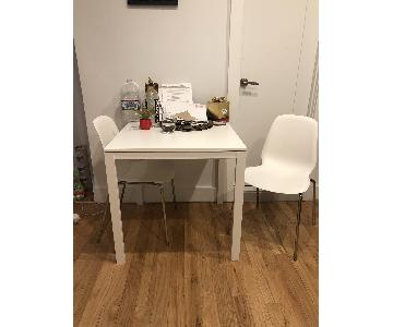 Ikea White Square Dining Table w/ 2 White Chairs