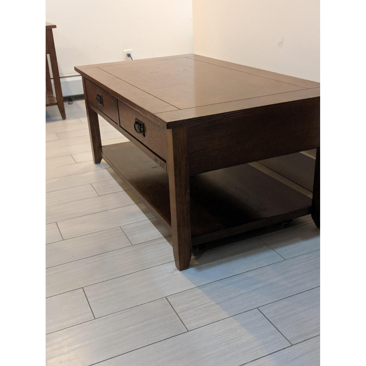 Slumberland Furniture Rutledge Mission Oak Coffee Table Aptdeco