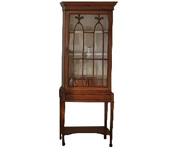 Antique Style Wood & Glass Cabinet