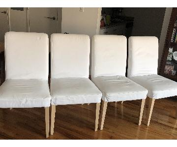Ikea White Fabric Dining Chairs