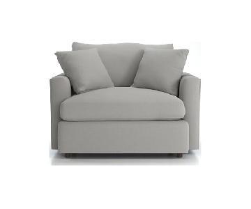 Crate & Barrel Lounge II Chair & Half & Storage Ottoman