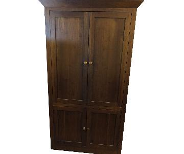 Ethan Allen Solid Wood Entertainment Unit w/ 2 Bookshelves