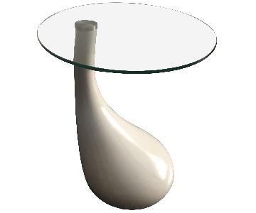 Manhattan Home Design Mid Century Modern White Side Table