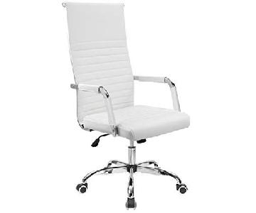 Furmax Mid-Back Ribbed Leather Office Chair