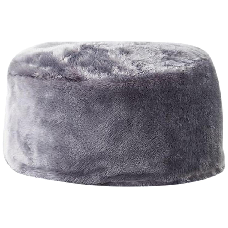 CB2 Faux Fur Grey Pouf