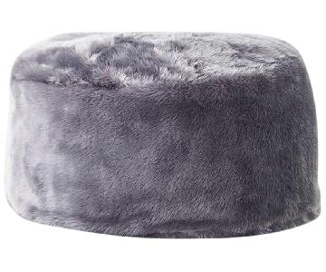 CB2 Faux Fur Grey Pouf