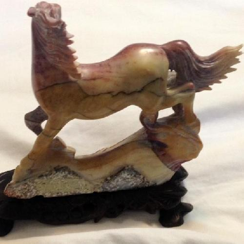 Used Antique Marble Horse on a Stand for sale on AptDeco