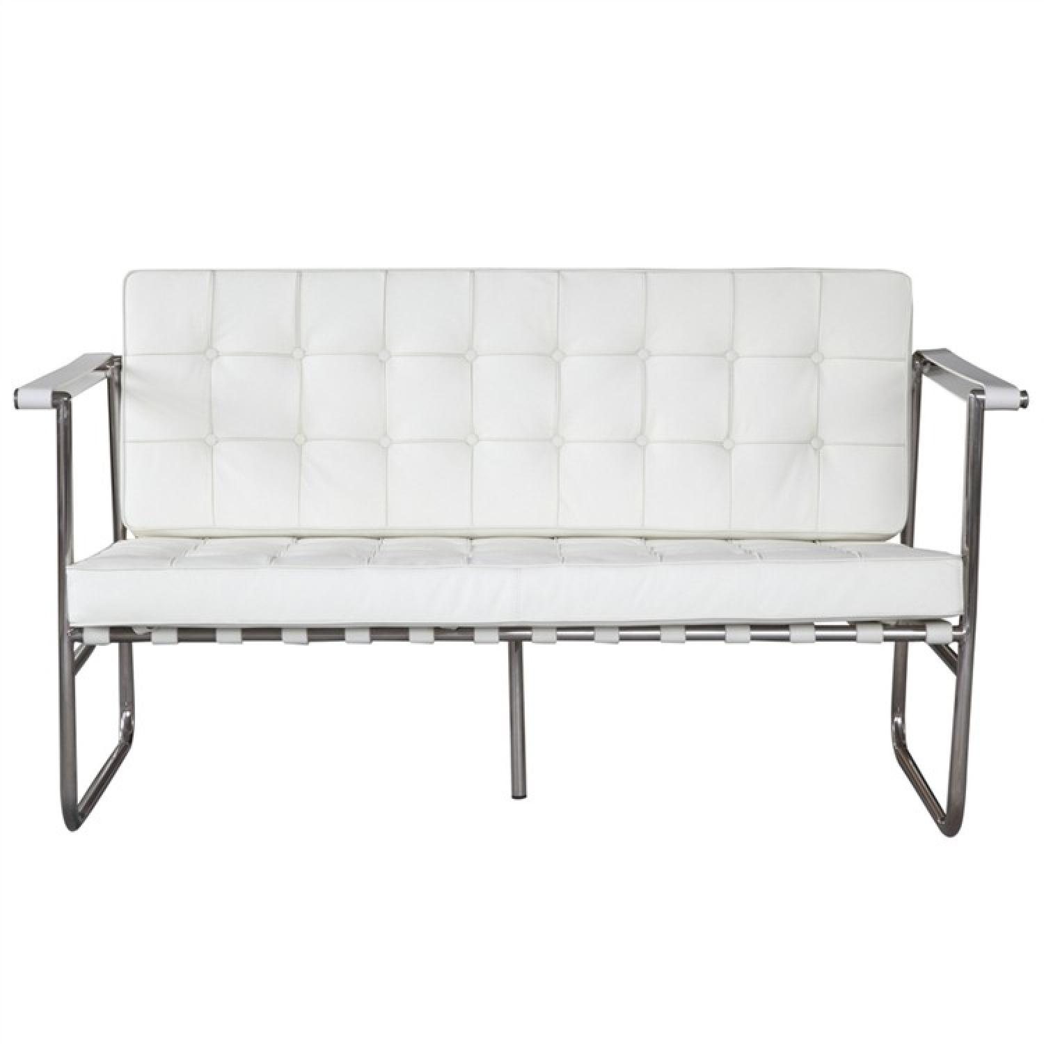 Superb White Leather Mid Century Style Loveseat W Button Tufted Se Beatyapartments Chair Design Images Beatyapartmentscom