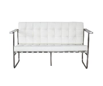 White Leather Mid-Century Style Loveseat w/ Button Tufted Se