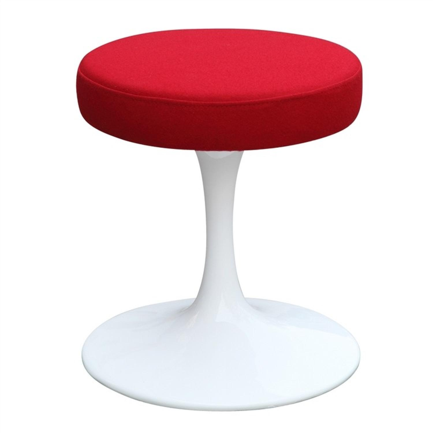 Tulip Style Stool w/ Round Cushion in Red Fabric