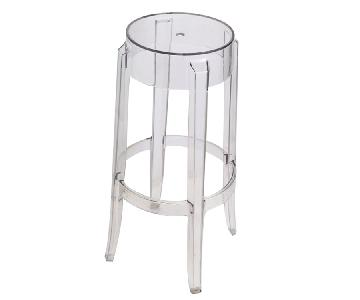 Round Barstool Stool in Scratch & Weather Resistant Transpar