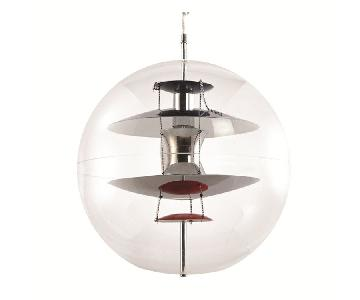 Globe Ceiling Lamp in Acrylic Globe w/ Multi-Color Reflector
