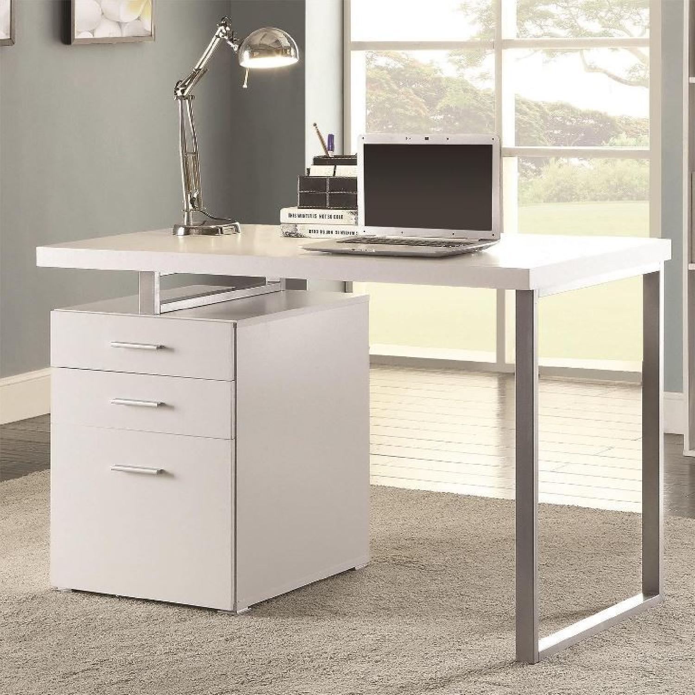 modern desk with storage oversized modern desk w storage cabinet in white finish metal legs1 aptdeco