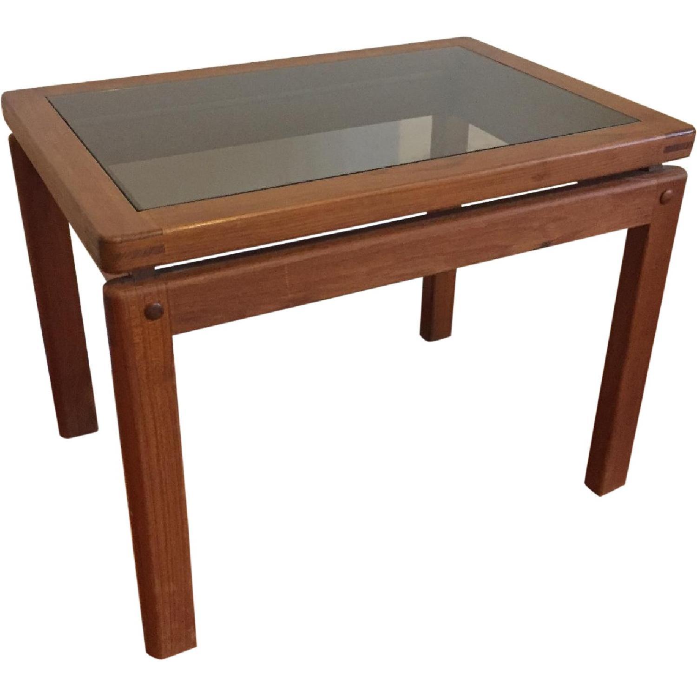 Scandinavian Modern Teak & Smoked Glass End Table