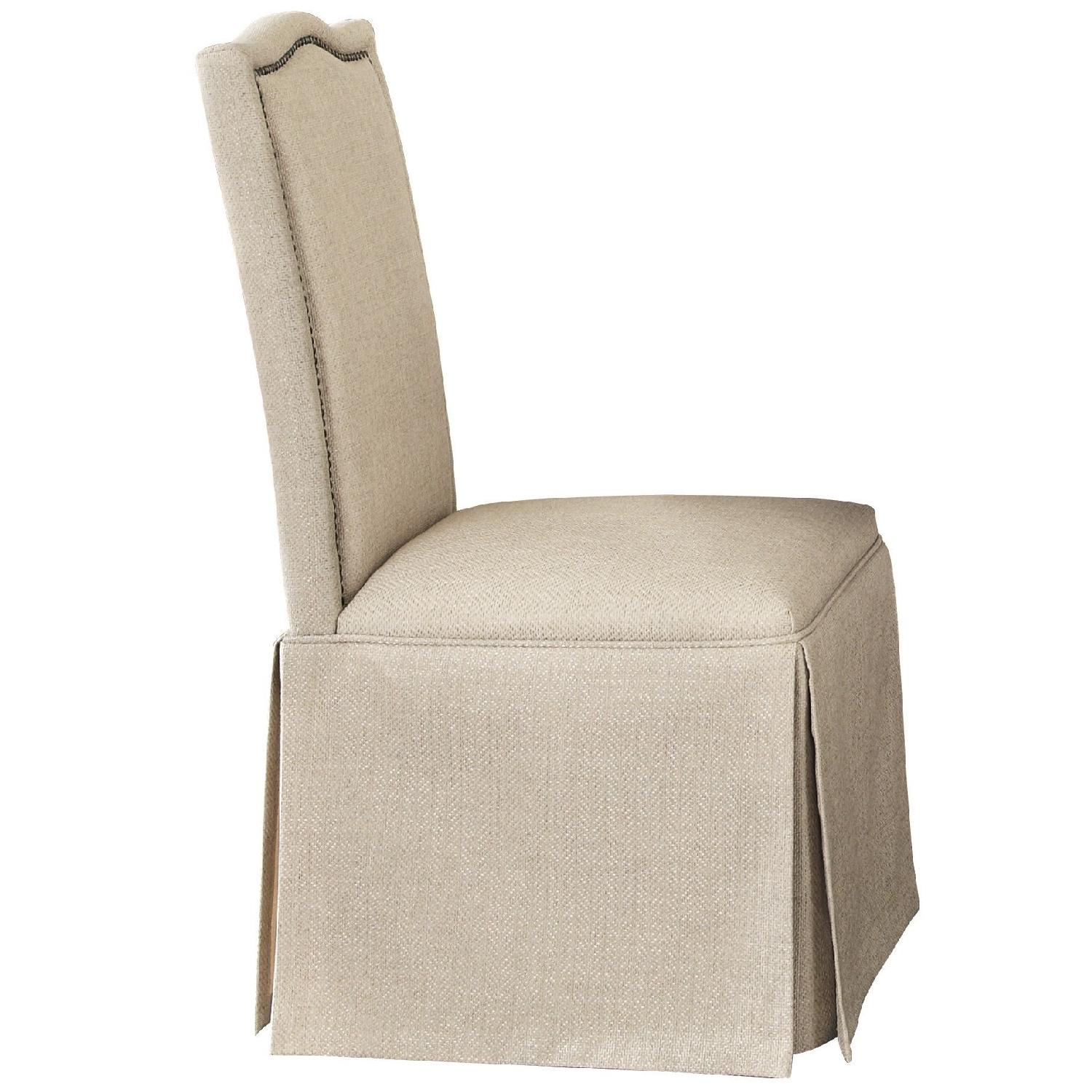 Parson Chair w/ Simple Curved Crests High Back & Fabric Upholstery & Skirt