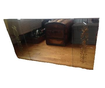 Antique Frameless Chic Cottage Flower Etched 3 Panel Mirror