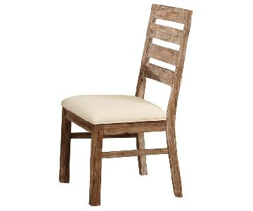 Rustic Solid Wood Side Chair w/ Beige Padded Cushions